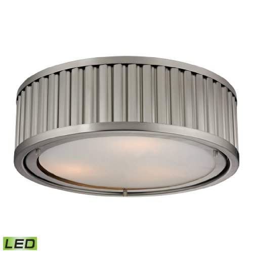 Linden Collection 3 Light Flush Mount In Brushed Nickel - Led, 800 Lumens (2400 Lumens Total) With Full Scale Dimming Range, 60 Watt (180 Watt Total)Equivalent , 120V Replaceable Led Bulb Included.