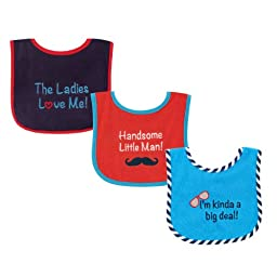 Luvable Friends 3 Piece Drooler Bib with Waterproof Backing for Boys