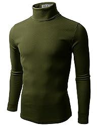 Doublju Mens Long Sleeve Cotten Turtleneck Shirt, Green, S