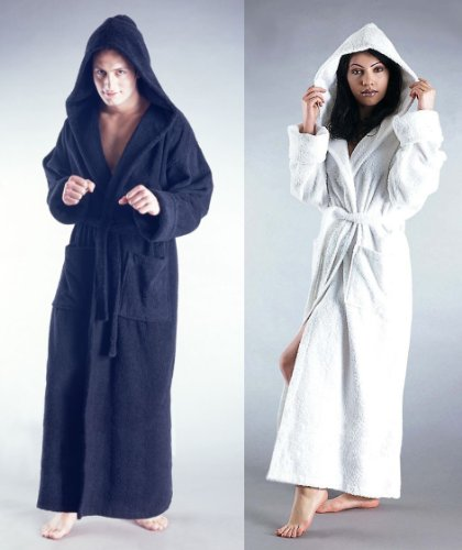 Bathrobes Online Mens and Womens Hooded Full Ankle Length Turkish Terry Cotton Long Bathrobe - Made in Turkey - 5 Sizes up to 59 inches Length