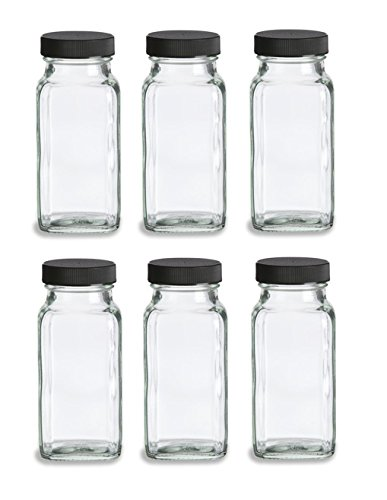 Nakpunar 6 pcs 6 oz French Square Glass Spice Jars with Shakers - Black lids and shaker insert (Spice Jars 6oz compare prices)