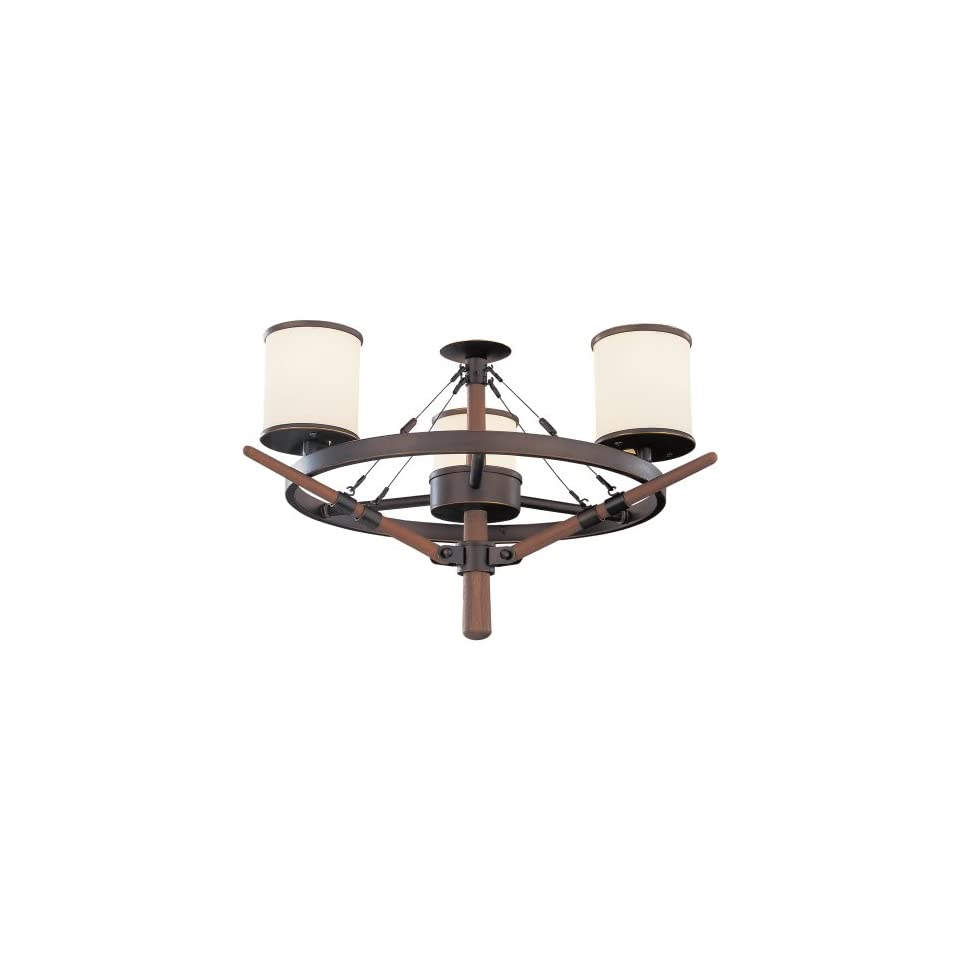 Monte Carlo MC162RB Yachtsman 3 Light Indoor and Outdoor Damp Location Light Kit with 3 Feet Chain and 5 Feet Wire, Roman Bronze