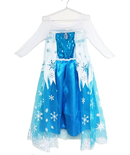 Bskids Frozen Queen Elsa Princess Halloween Costume (3-4 years, Blue)
