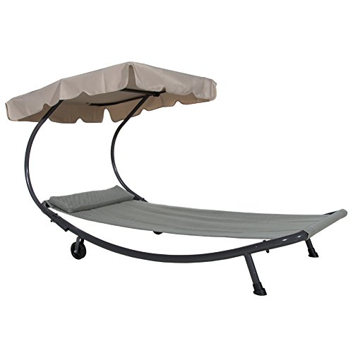 Abba Patio Outdoor Portable Single Hammock Bed Swimming Pool Chaise Lounger with Sun Shade, Wheels