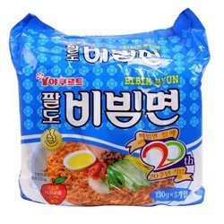 BIBIM MEN Oriental Style Noodle, Spicy Cold(Mi Kho Dai Han) Multi Package(5 packs) by Paldo