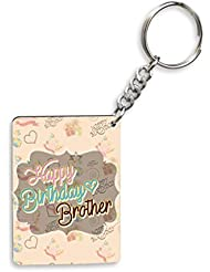 Sky Trends Happy Birthday Brother With Brown Floral Best Gifts For Birthday And Anniversary Wooden Keychain