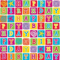 30 Inch x5 Feet Printed Gift Wrap - Birthday Blocks