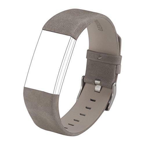 Accessori classici per Charge 2, Wearlizer Lux Cinturino di ricambio sportivo in vera pelle per Fitness Tracker Fitbit Charge 2 - Grigio