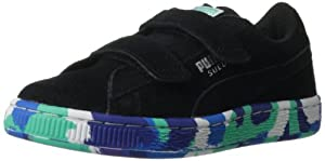 PUMA Suede Rubber Mix Sneaker (Toddler/Little Kid/Big Kid),Black/Puma Silver/Multi Color,3 M US Little Kid