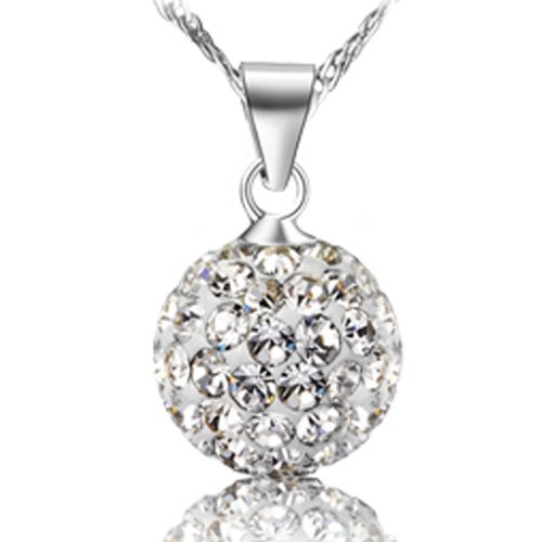 Chaomingzhen (Ball Diameter 0.31inch) Rhodium Plated Austrial Crystal Ball Bead Sterling Silver Charm Pendants Necklaces for Women with Chain Length 18