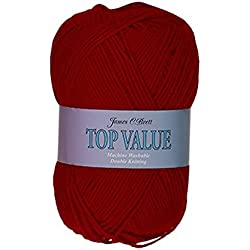 James Brett Top Value DK Double Knitting Wool 100% Acrylic Yarn 100g Ball (Scarlet 8426)