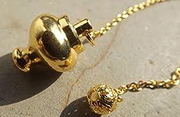Chapado en oro metal punto pelota péndulo de radiestesia sanación