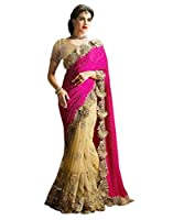 Surat Tex Pink & Cream Color Lycra & Net Embroidered Party Wear Saree with Blouse Piece-I481SECN7-TS