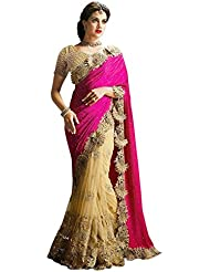 Surat Tex Pink & Cream Color Lycra & Net Embroidered Party Wear Saree With Blouse Piece-I481SECN7
