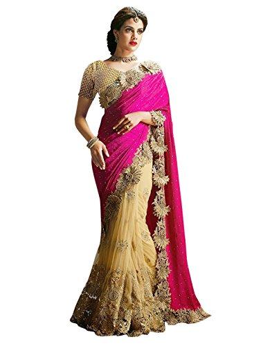 Surat-Tex-Pink-Cream-Color-Lycra-Net-Embroidered-Party-Wear-Saree-with-Blouse-Piece-I481SECN7-TS