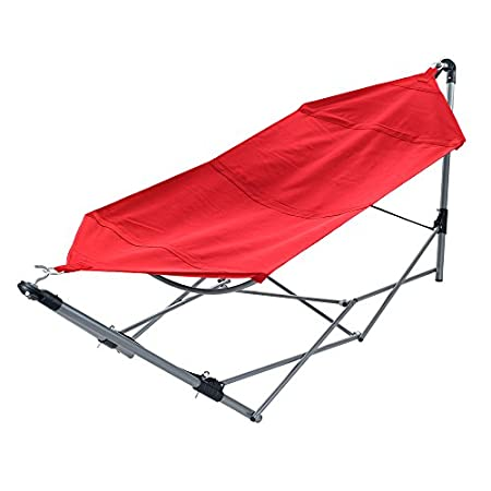 This no-tree-necessary Portable Hammock from Stalwart is the perfect companion for camping trips, relaxing poolside, or even hanging out in the backyard. Folds conveniently to fit into an easy carry backpack and assembles quickly in just three easy s...