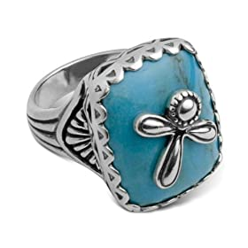 Serenity Turquoise Ring with Sterling Silver Dragonfly