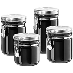 amazon com oggi ceramic canister set with stainless steel