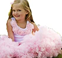 Oopsy Daisy Pettiskirt and White Tank with Pink Rosettes Set. Dress-up Ballet Tutu Dress. Pink . (12m-8) Size 6.