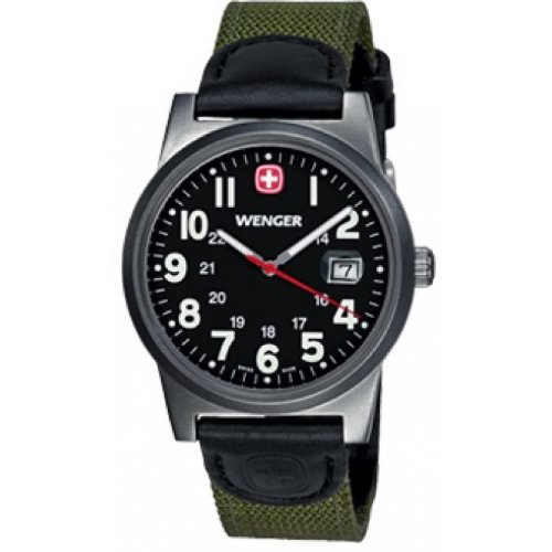Wenger-Mens-Quartz-Watch-with-Black-Dial-Analogue-Display-and-Green-Nylon-Strap