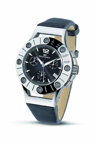 Philip Watch R8271684525 - Reloj unisex de cuarzo, correa de piel color negro