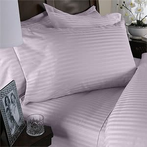 Egyptian Bedding 600 Thread Count Egyptian Cotton 600TC Sheet Set, Queen, Lavender Stripe 600 TC