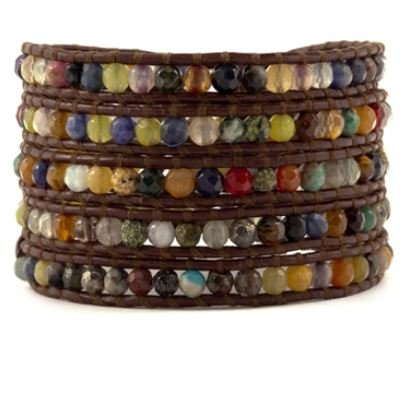 Chan Luu Multi Stone Wrap Bracelet on Brown Leather