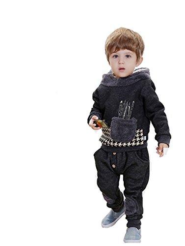Winter Fashion Children Suit Boys Fleece Clothing Set Hooded Shirt + Pants 394 (18-24 Months(100Cm), Gray)