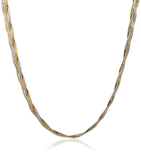 14k Gold Tri-Color Italian 3-Strand Diamond Cut Braided Herringbone Necklace, 18