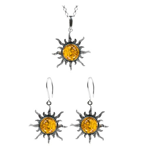 Baltic Honey Amber and Sterling Silver Medium Flaming Sun Earrings and Pendant Set, 18