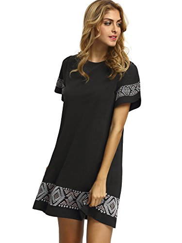 Floerns-Womens-Embroidered-Short-Sleeve-Casual-Shirt-Swing-Dress