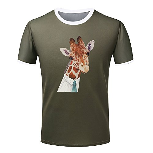 Painting of Mr giraffe mens two-toned tees 3XL