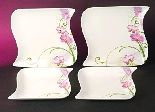 Ozean Ocean Orchidee Dekor Tafel Service 12 teilig Neu Eckig Porzellan Geschirr Set 6 Personen