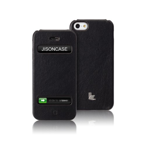 Special Sale Jisoncase Executive Genuine Leather Flip Case for iPhone 5, JS-IP5-002B-Black