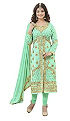 Jiya Presents Embroidered Faux Georgette Dress Material (Pista Green)