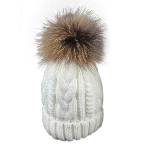 Iuhan Toddler Baby Winter Crochet Hat Fur Wool Knit Beanie Raccoon Warm Cap (White) (Zulu Zephyr compare prices)