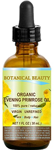 ORGANIC EVENING PRIMROSE OIL. 100% Pure / Natural / Undiluted / Unrefined /Certified Organic/ Cold Pressed Carrier Oil. Rich antioxidant to rejuvenate and moisturize the skin and hair. 1 Fl.oz - 30ml. by Botanical Beauty (Primrose Oil Cold Pressed compare prices)