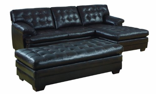 Homelegance 9739 Channel-Tufted 2-Piece Sectional Sofa Set, Dark Brown With Bonded Leather front-974848