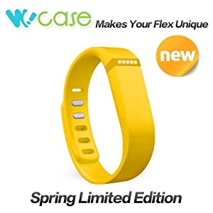 WoCase Replacement Accessory Wristband Vibrant Yellow (Large/Small) with Clasp for Fitbit Flex Activity and Sleep Tracker (Large (6.3