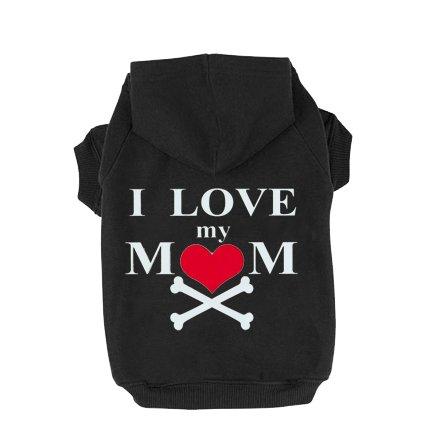 [EXPAWLORER I Love My Mommy Dog Cat Fleece Sweatshirt Hoodies Costumes Black XXXL] (Weenie Costumes)