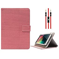 DMG Protective Flip Book Cover Stand View Case for Micromax Funbook P255 Tablet (Pink) + 3.5mm Flat AUX Cable with Mic
