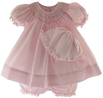 Ami newborn girls pink smocked dress bonnet bloomers newborn infant