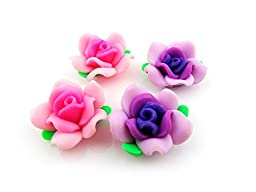 Jewelry Beads Findings Decoration 150Pcs Mixed Handmade Polymer Clay Flowers with Green Leaves 25mm