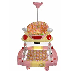 baby walker with a parent handle (pink)