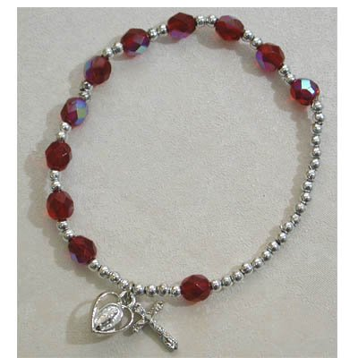 Adult Womens Stretch Rosary Bracelet Birthstone Garnet January Red.