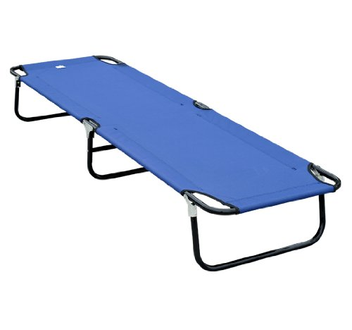 Outsunny Deluxe Folding Military-style Camping Cot, Blue