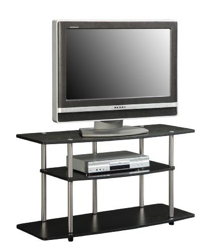 wide tv stand 3 tier shelves black for 42 inch lcd plasma screen television new ebay. Black Bedroom Furniture Sets. Home Design Ideas