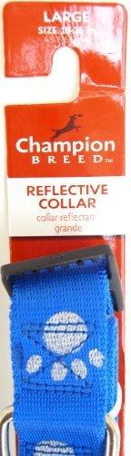 champion-breed-reflective-adjustable-nylon-dog-collar-blue-with-paw-prints-large-size-18-26
