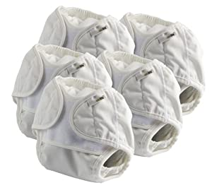 Onelife - Pañal de tela con velcro (para 0-3 meses, talla 0, 5 unidades), color blanco