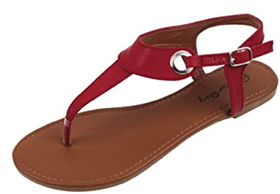72908fa552a Womens Roman Gladiator Sandals Flats Thongs W Buckle 4 Colors